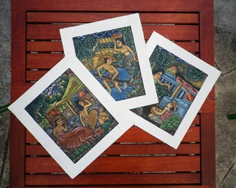 Original Painting Art Vintage Acrylic Batyk Canvas