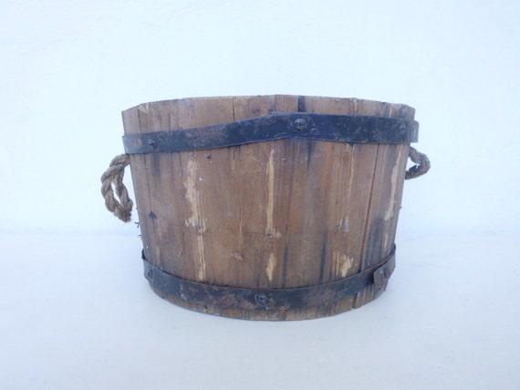 Old Wooden Planter Spanish Vintage Cottage Round Bowl Decorative Farmhouse Furniture