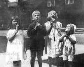Kids Eating Ice Cream - I Scream, You Scream, We All Scream For Ice Cream -  Summer Time Sweets Dessert cool - Digital Vintage Photo Image