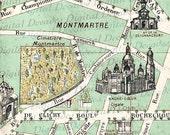 Montmartre Cemetery Cimetiere Map - France French Paris - Digital Image Vintage Art Illustration