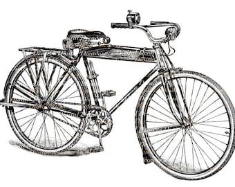 Bicycle Bike Vintage Art Illustration - Digital Image