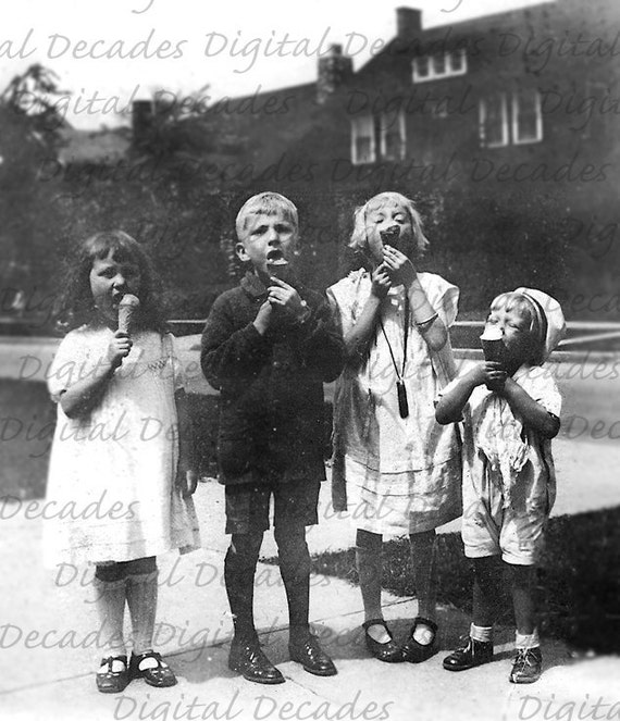 Kids Eating Ice Cream - I Scream, You Scream, We All Scream For Ice Cream -  Summer Time Sweets Dessert cool - Digital Vintage Photo Image