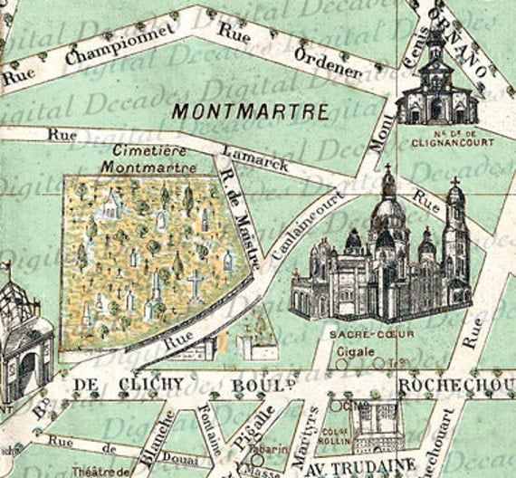 Items similar to Montmartre Cemetery Cimetiere Map ...