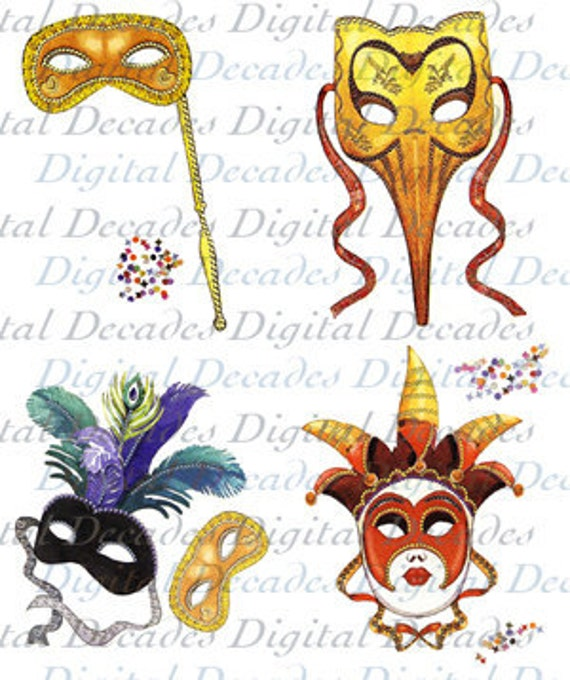 Four Mardi Gras Masks Fat Tuesday Parade Carnival Party - Digital Image - Vintage Art Illustration - Instant Download