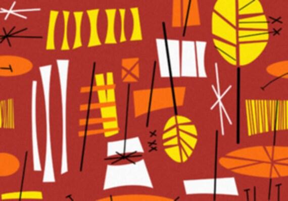 Funky Retro Tiki Hawaiian Red Orange Yellow Mid-Century Background - Digital Image - Vintage Art Illustration - Instant Download