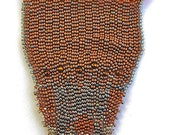 A beadwork necklace, I call TREMENDOUS  - cooper and silver - free form Peyote stitch