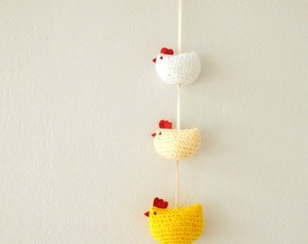 Set of  Three Crochet Amigurumi Chickens Hanging Mobile / Garland / Toys - Yellow, Pale Orange and White - MADE TO ORDER