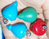 4 Vintage Wooden Toy Top Charms - Custom Listing
