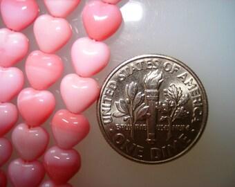 25 - Czech Glass Opaque Pink Heart beads 6mm