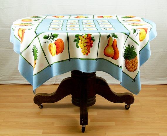 "Vintage Table Cloth 48"" Square Aqua Blue Bright Orange and Yellow Fruit Made In England"