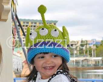 Toy Story Hat Pattern - Alien Crochet PDF - cute Disneyland hat - newborn baby toddler kids adult sizes