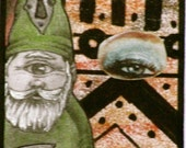 """Artist Trading Card - Gnome -  MINIATURE ART  - """"Eye On You""""  - ACEO - Collectible - 2.5 X 3.5"""