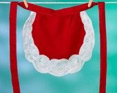 Apron, Sweet Heart Red Linen and Lace Apron Dress, Apronafore Bibock