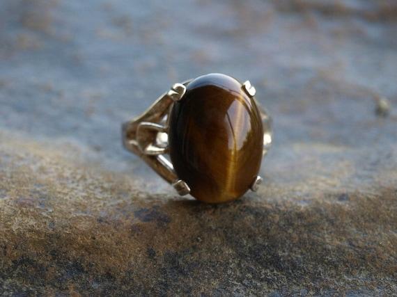Vintage Mens Tiger Eye Ring Sterling Silver By Sallysbackyard
