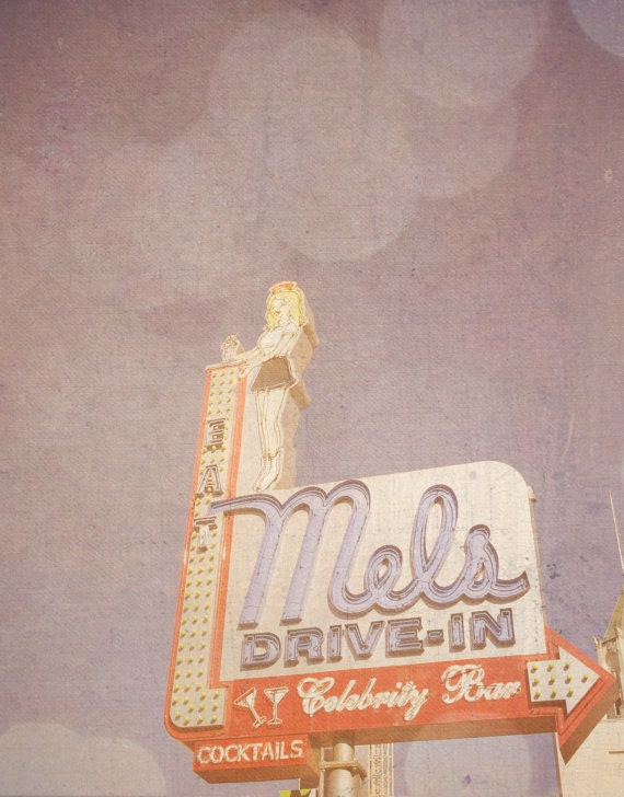 "California Print ""Mel's Drive-In"" - Vintage Bokeh Photograph of Classic Los Angeles Landmark Restaurant, Fine Art 8x10"" Photography Print"