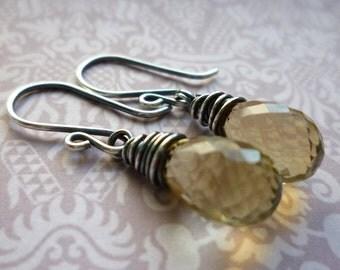 Faceted Gemstone Briolette Earrings - Lemon Quartz Briolette & Silver Earrings Princess Petites