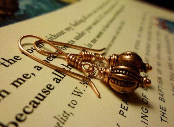 Copper Beaded Earrings - Copper Wire Wrapped Beaded Earrings