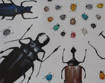 Beetles - original painting 12 x 12 - surreal modern still life beetles beatles bugs entomologist insects insect creepy crawlie