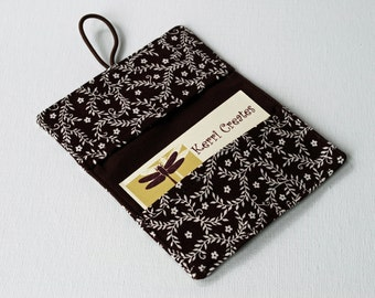 READY to SHIP - Brown with White Leaves Fabric Mini Wallet - with Button and Closure. Business Card Holder, Credit Card Wallet, Small Wallet