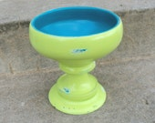 Shabby Lime and Blue Pedestal Serving Bowl Funky