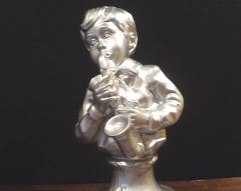 Vintage Musician Saxaphone Pedestal Bust Pick Your Color