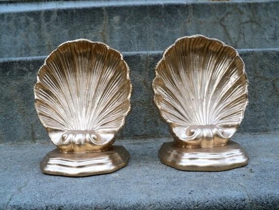 Metallic Gold Seashell Bookends Hollywood Regency