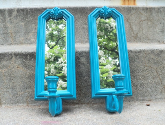 Peacock Blue Mirrored Wall Sconce Set