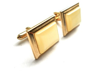 Vintage Cufflinks Swank Mother of Pearl Lucite 1950s