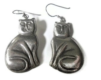 Cat Earrings Sterling Marsala Fat Cats