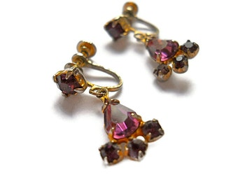 Vintage Rhinestone Earrings Drop Amethyst 1940s