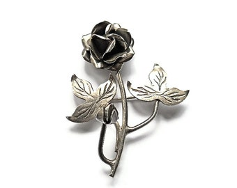 Vintage Brooch Sterling Silver Rose Mexico  Mothers Day