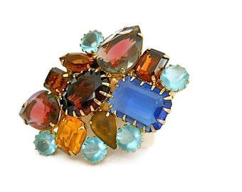 D & E Juliana Brooch Fruit Salad Givre and Art Glass 1960s Statement Piece
