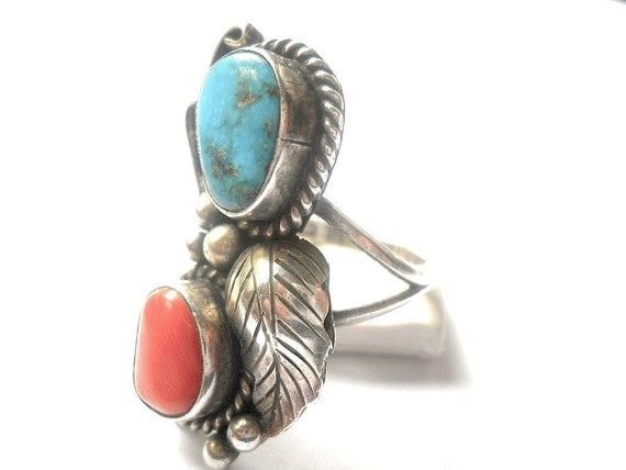 Vintage Navajo Ring Angela Lee Signed Sterling Silver Turquoise Red Coral Ring 1960s