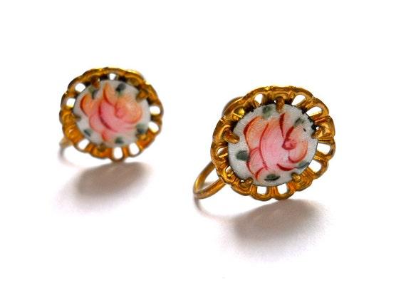 Vintage Coro Earrings 1940s  Guilloche Rose screw back