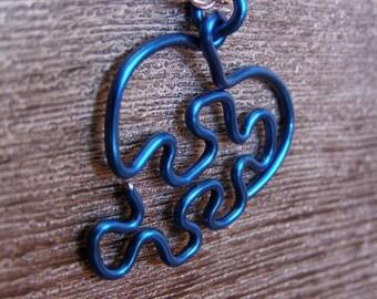 Puzzle Heart Necklace - Large 12g Royal Blue
