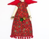 Handmade doll Christmas angel Tilda style fabric doll  jingle bells- stuffed doll,cloth doll art doll.Christmas gift,gift for girl