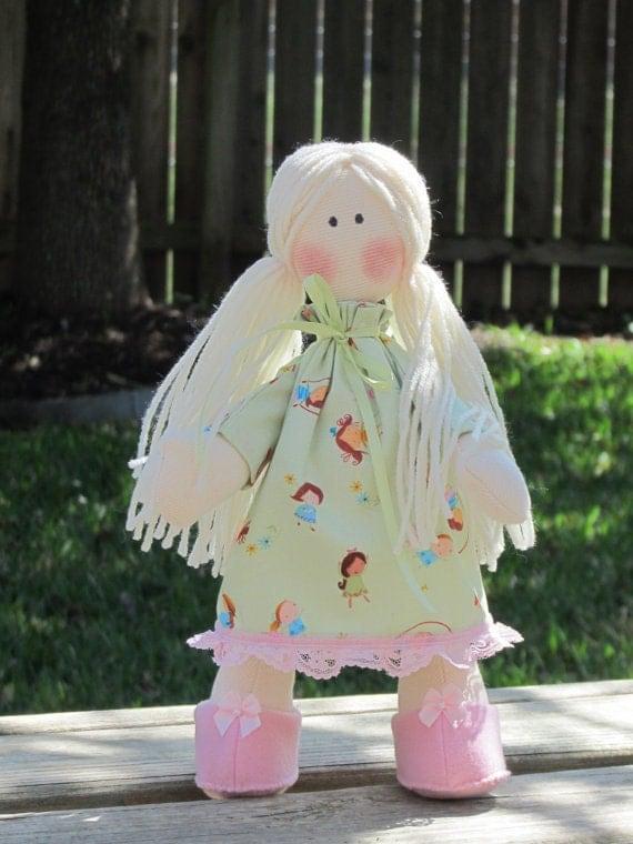 OOAK cloth doll, stuffed cute fabric doll in light green dress blonde,softie plush doll Waldorf inspired . Gift for girls