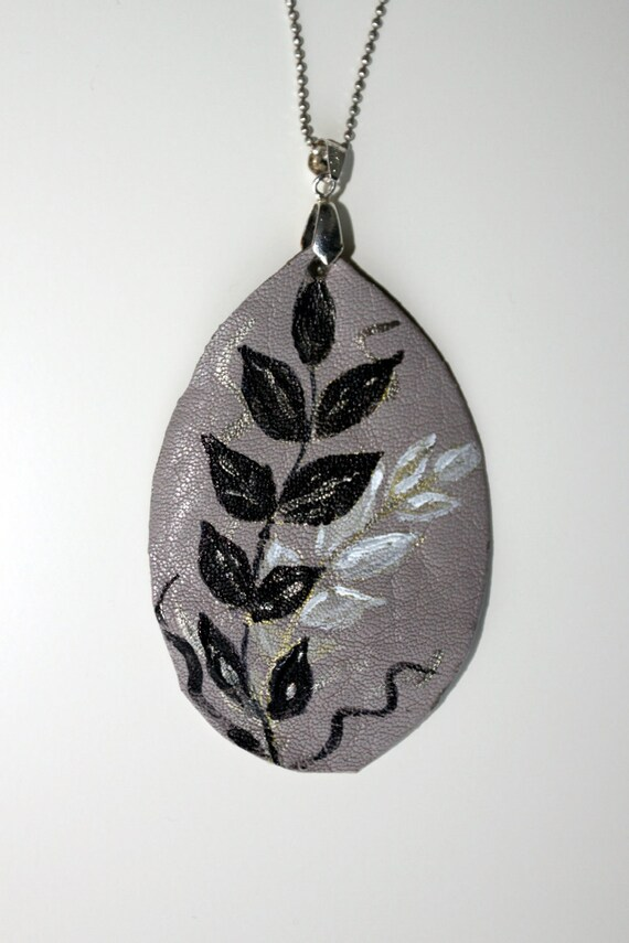 Hand painted leather pendant - Ash gray leather pendant - Boho chic leaves pendant - silver, black leaves - art pendant
