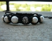 Rhinestone & Pearl Macrame Bracelet