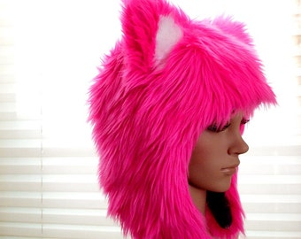 Pink Kitty Hat Faux Fur Cat