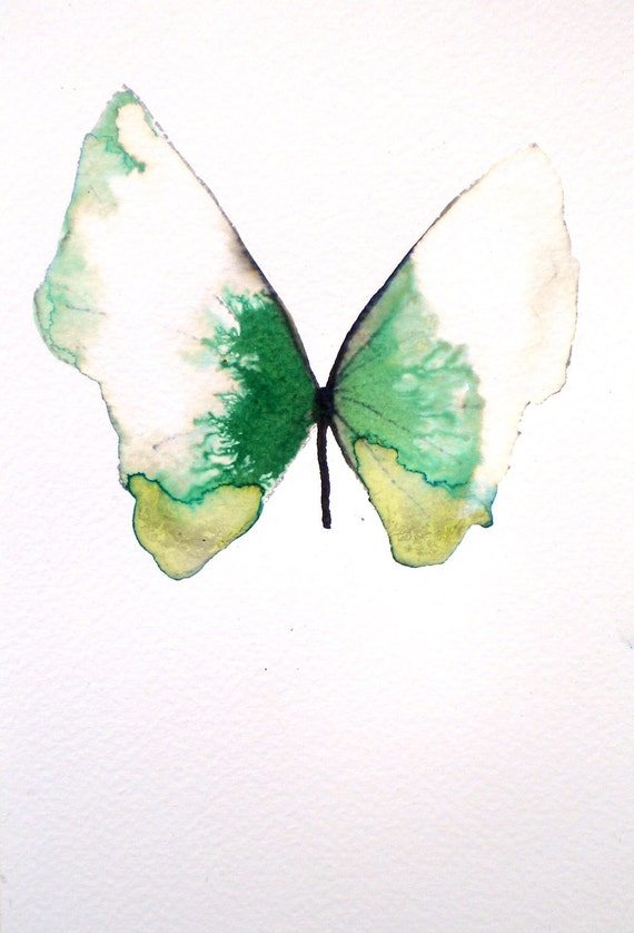 """white and green butterfly 5x7"""""""