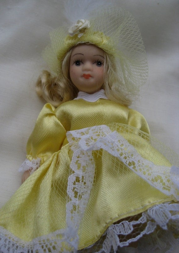 SALE: Vintage Porcelain Doll In Yellow Dress. Pre-1980, possibly older.  Antique Doll Toy