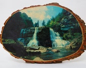 SALE - 70s Wooden Imagery Wall Hanging - Blackwater State Park West Virgina - Waterfall Image