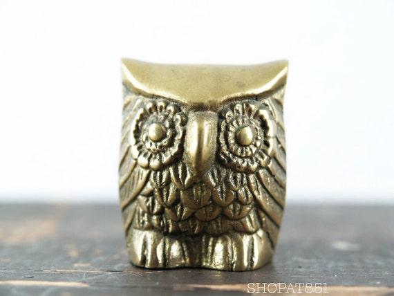 Vintage 1970s Brass Owl Paperweight Figurine - Urban Owl Decor