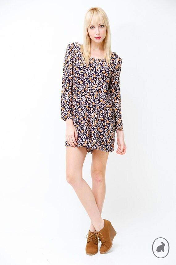 Vintage 90s Grunge Floral Mini Dress Romper - Long sleeve Jumper -  US Size Small Medium
