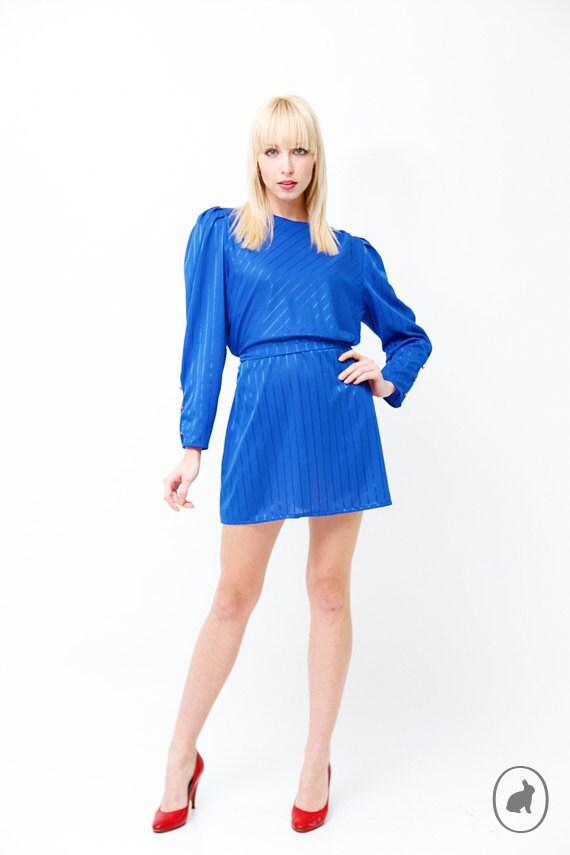 Vintage 80s Bright Cobalt Blue Mini Dress - Sexy Shiny Striped Secretary Dress - Small Medium