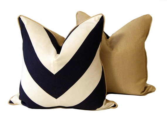 Deep Blue and White Chevron Pillow