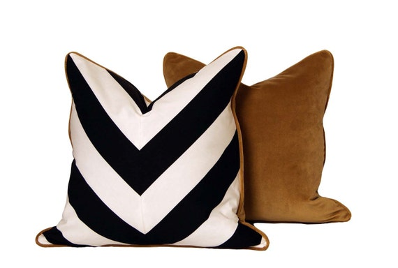 B&W Chevron Pillows with Gold Velour Backing