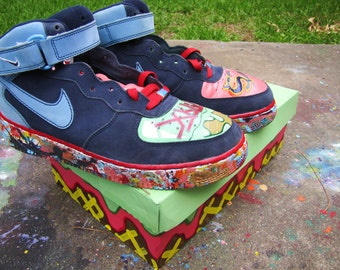 "Hand Painted Nike Air Force 1 Mid ""Ice Cream Falsies"" Custom Sneakers (Custom Shoebox included)"