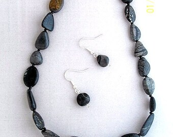 SALE Black Jewelry Set - Stoney Creek Pebbles - 2 piece jewelry set